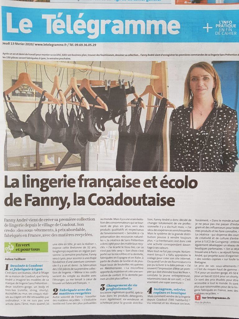 La lingerie française et écolo de Fanny, la Coadoutaise