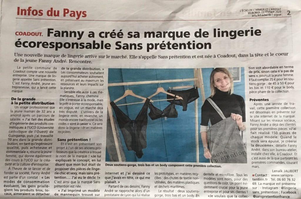 Fanny a créé sa marque de lingerie écoresponsable Sans prétention