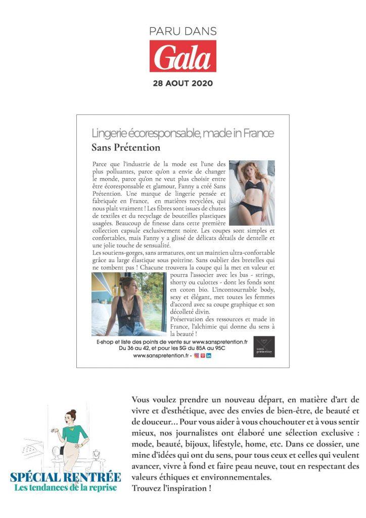 Article de Sans Prétention, lingerie éco-responsable et fabriquée en France dans la magazine Gala du 27/08/2020