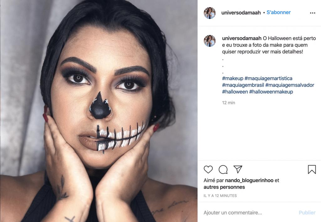 Maquillage éco-responsable squelette femme sur Instagram