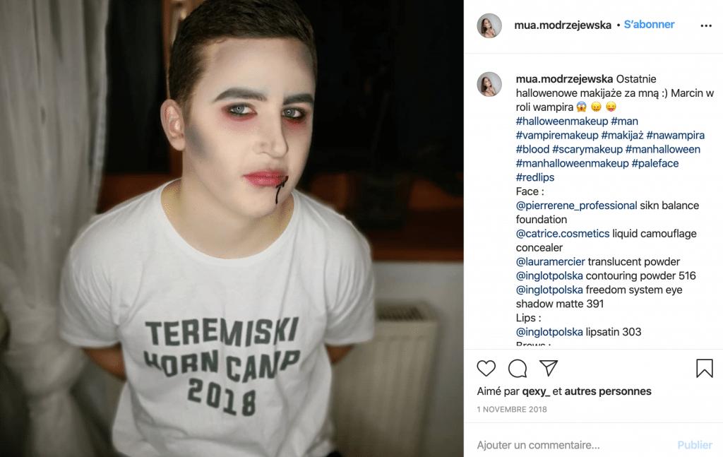Maquillage éco-responsable vampire homme sur Instagram