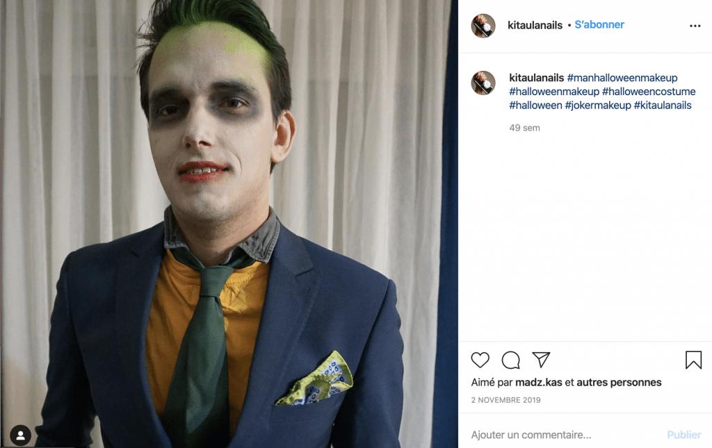 Maquillage éco-responsable mort vivant homme sur Instagram