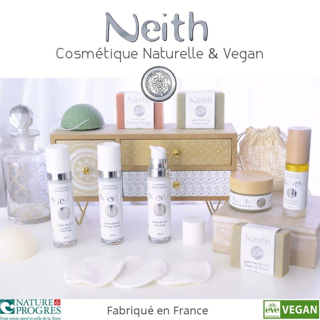 Neith cosmétique naturelle et vegan fabriqué en France certifié nature et progrès et eve vegan