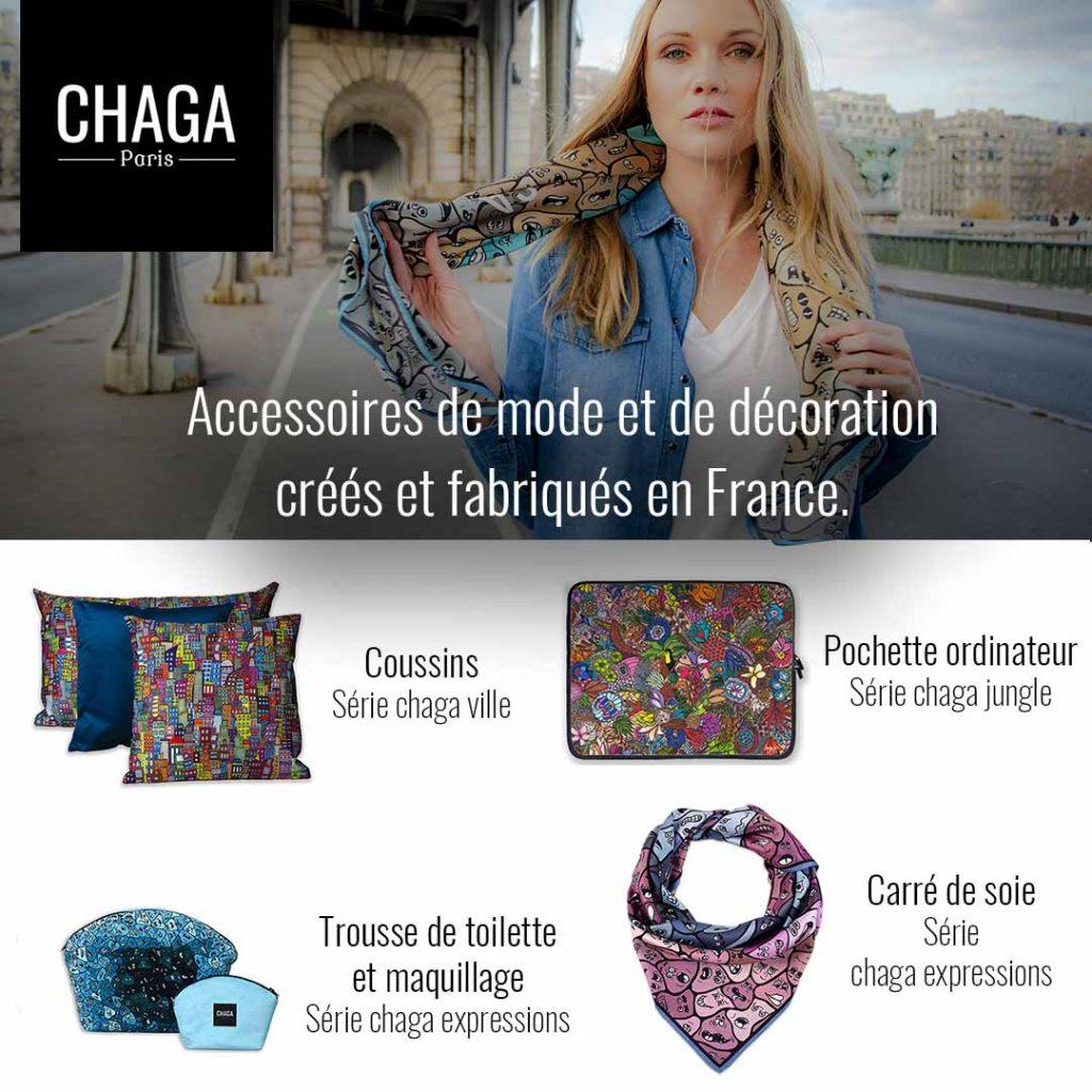 Accessoire de mode et de décorations créés et frabriqués en France Chaga Paris