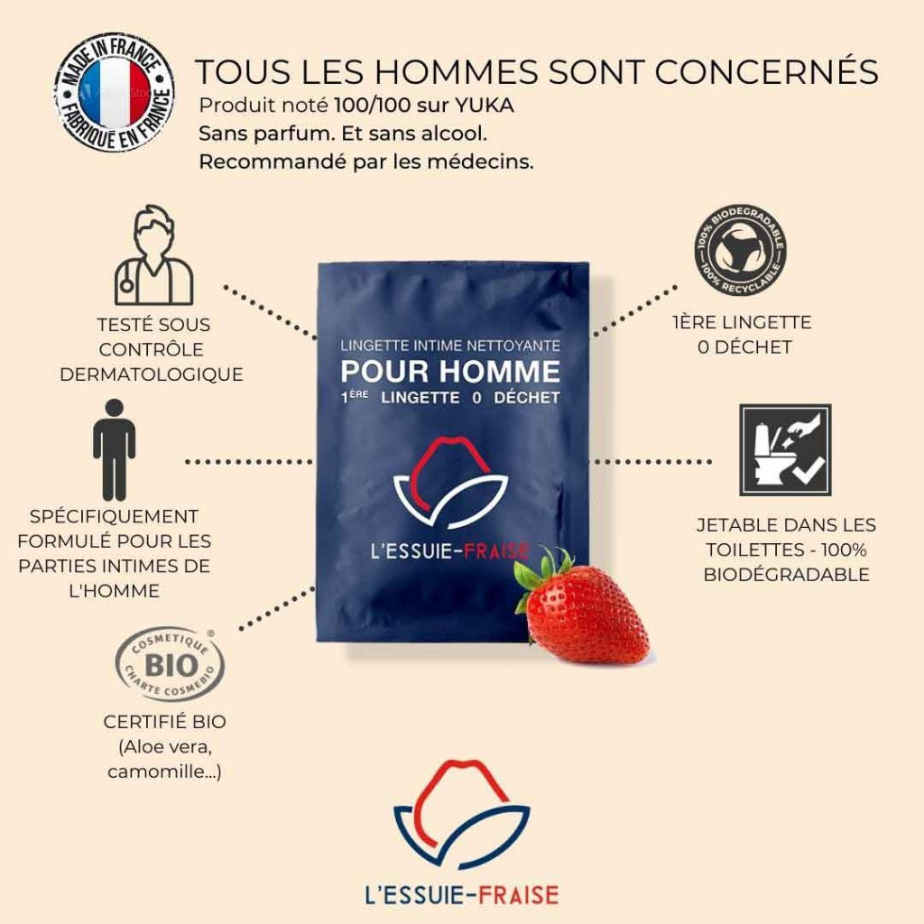 partenariat 100% Ecolo avec Essuie-Fraise lingette intime pour homme recommandé par les médecins dans vos commandes Sans Prétention