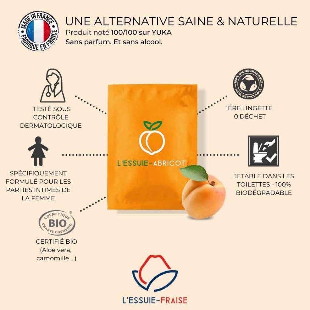 Essuie-Abricot, Lingette intime pour femme saine et naturelle dans vos commandes Sans Prétention