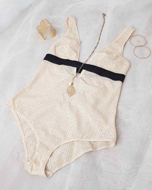 Body femme made in france en fibres recyclées de la collection L'Audacieuse par Sans Prétention.